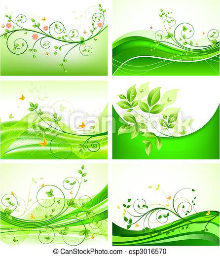 floral, résumé, ensemble, arrière-plans - csp3016570