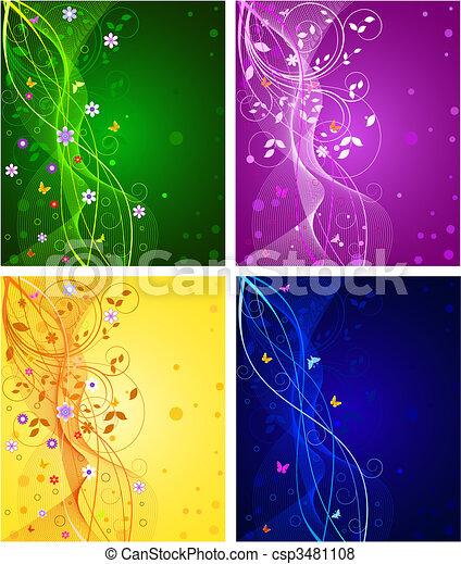 floral, résumé, ensemble, arrière-plans - csp3481108