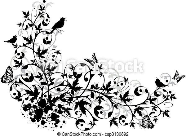 floral, résumé, frontière - csp3130892