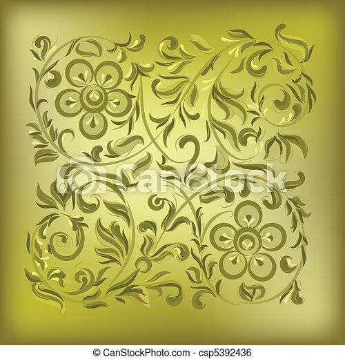 floral, résumé, ornement, fond, or - csp5392436