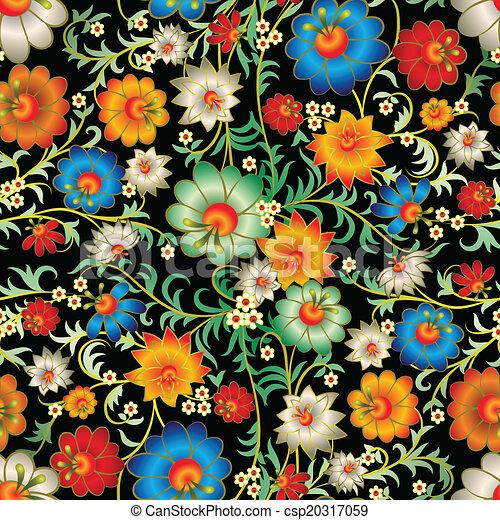 floral, résumé, ornement, seamless - csp20317059