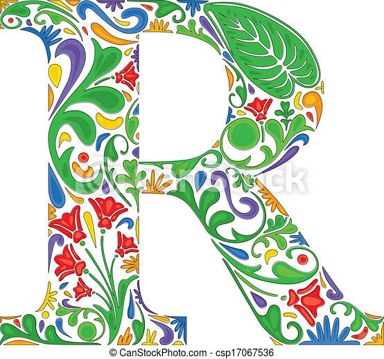 Floral r colorful floral initial capital letter r floral r csp17067536 thecheapjerseys Image collections