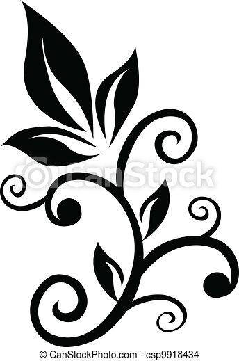 floral, redemoinho, ornamento, elemento - csp9918434