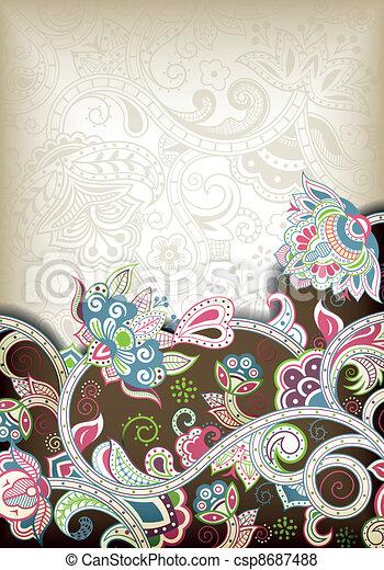 Remolino floral abstracto - csp8687488