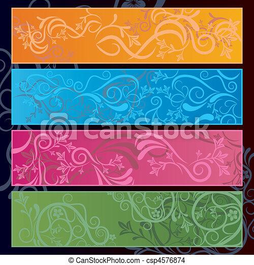 floral, resumen, bandera - csp4576874
