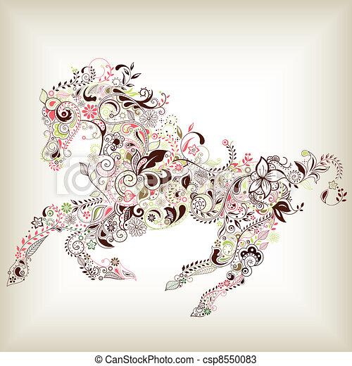 Abstraer caballo floral - csp8550083