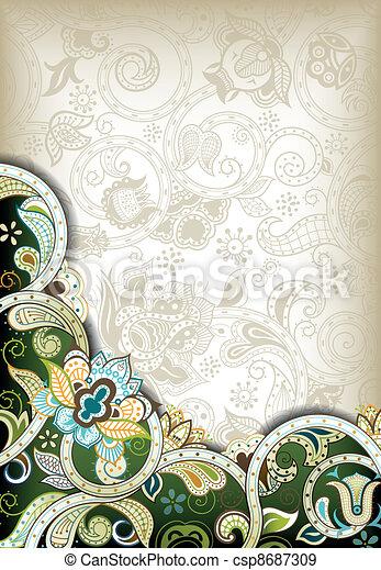 Floral verde abstracto - csp8687309