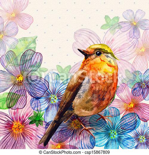 Floral retro card watercolor - csp15867809