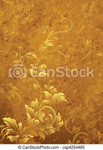 floral, retro, fond - csp4254465