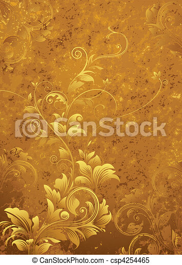 floral, retro, fundo - csp4254465
