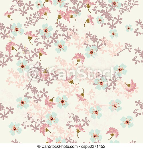 Floral Rustic Pattern With Pink And Blue Flowerseps