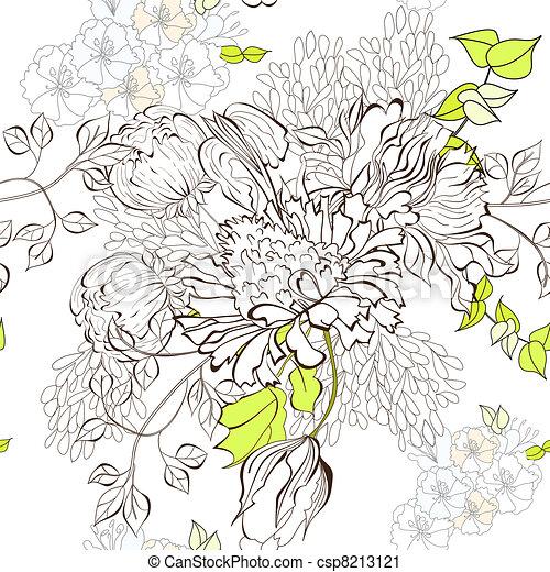 floral, seamless, achtergrond - csp8213121