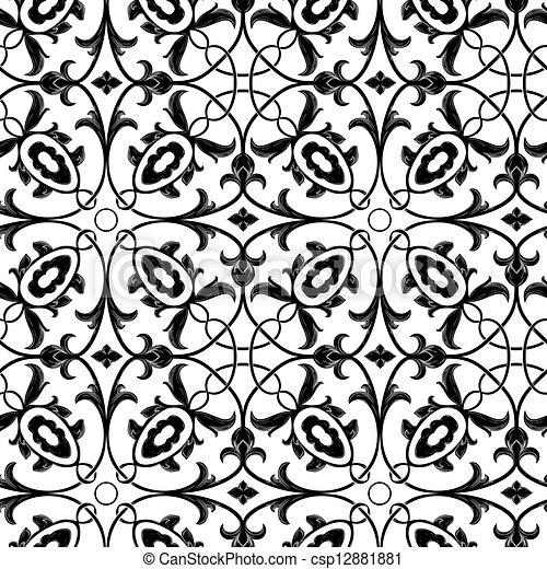 floral, seamless, fond, vector. - csp12881881