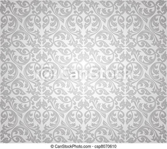 floral, seamless, fundo, prata - csp8070610