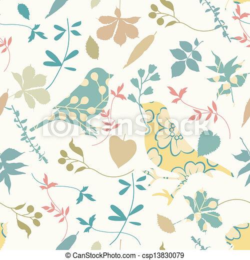 floral, seamless, pássaros - csp13830079