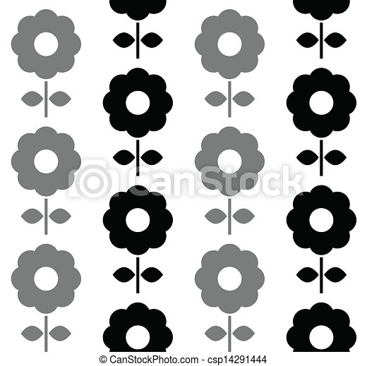 Floral seamless pattern - black and white - csp14291444