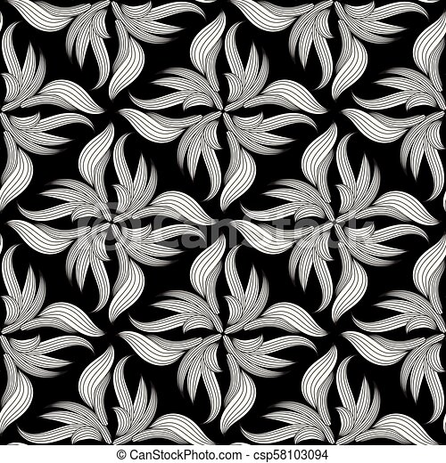 floral seamless pattern black and white drawing csp58103094