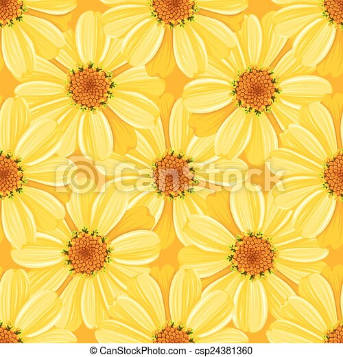 Floral seamless pattern - daisy - csp24381360