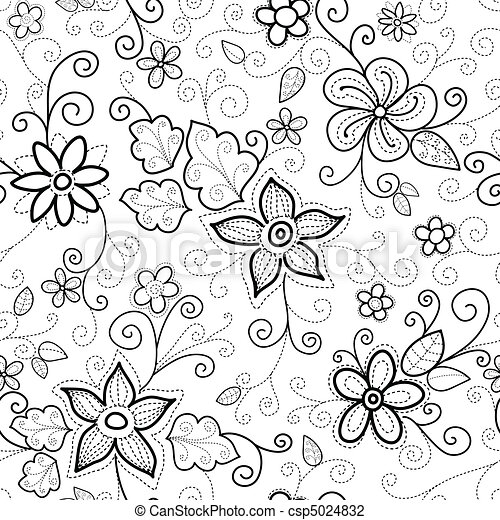 Floral Seamless Pattern Dashed - csp5024832