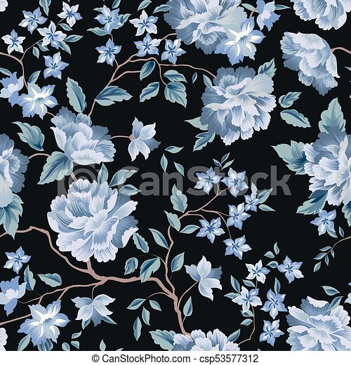 Floral Seamless Pattern Flower Rose Black Background Flourish Wallpaper With Flowers