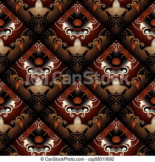 Floral Seamless Pattern Vector Dark Red Paisley Background Mod