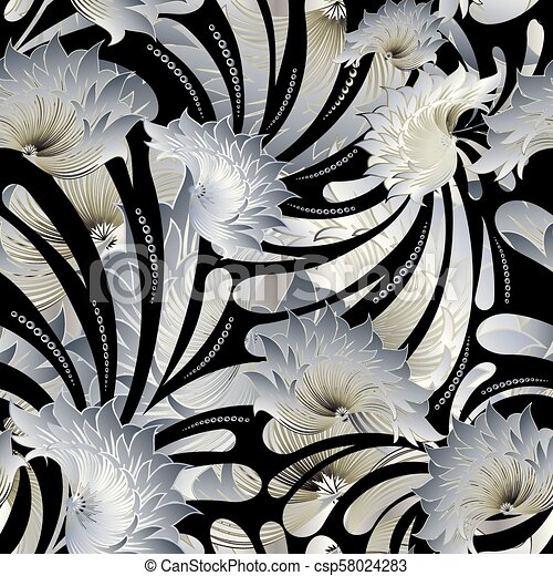 Floral Seamless Pattern Vintage Black White Background Ornate