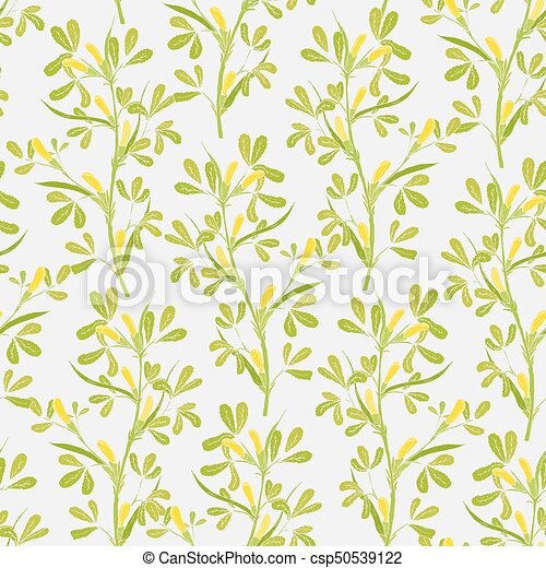 Floral Seamless Pattern With Flowering Fenugreek Plants On White