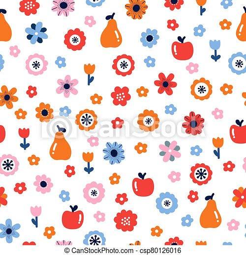 Floral seamless pattern with flowers and fruits. Scandinavian style design. Folk background - csp80126016