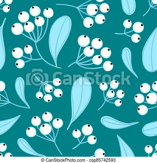 Floral seamless pattern with panicles of berries. Colorful repeating background with plant - csp85742593
