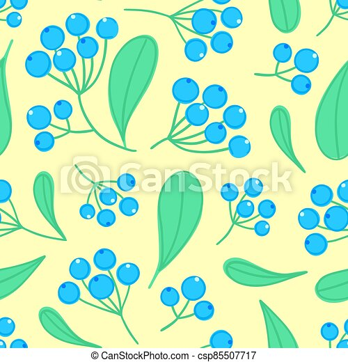 Floral seamless pattern with panicles of berries. Colorful repeating background with plant - csp85507717
