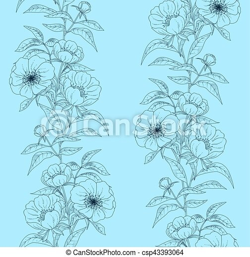 Floral seamless pattern with peonies. Vector illustration. - csp43393064