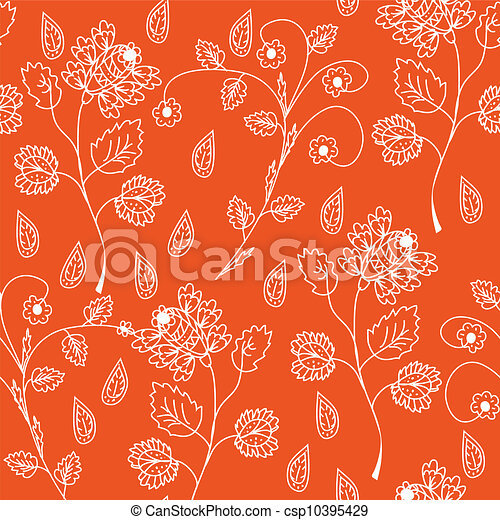 Floral seamless red ornate pattern - csp10395429