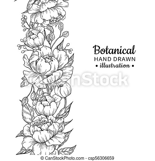 Floral Seamless Vintage Border Vector Peony And Roses Botanical