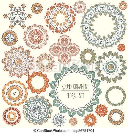 floral, set, ornament, ronde - csp26781704