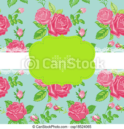 Floral Shabby Chic Card - Baby Shower, Invitation, Wedding Card - in vector - csp18524065