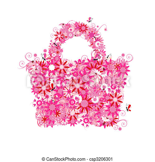 Floral shopping bag, summer sale. See also floral style images in my gallery - csp3206301
