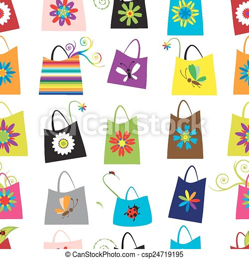 Floral shopping bags, seamless pattern for your design - csp24719195