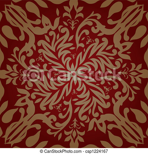 Floral Silver Repeat Maroon And Gold Retro Wallpaper Design That