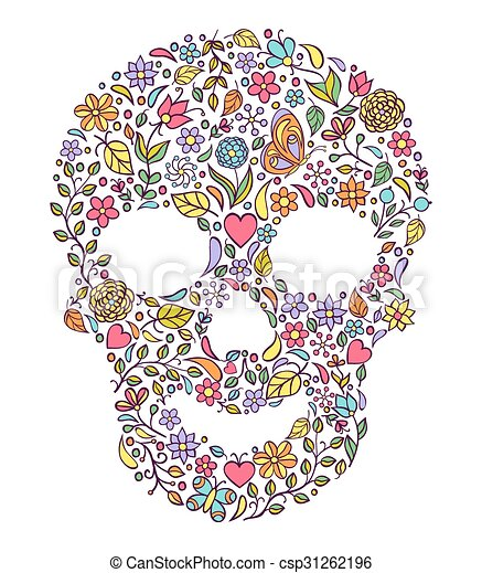 floral skull isolated on white background - csp31262196