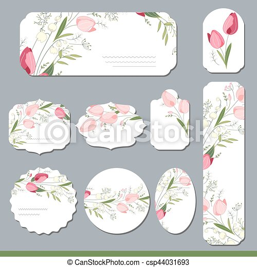 Floral spring templates with cute tulips. For romantic and easter design, announcements, greeting cards, posters, advertisement. - csp44031693