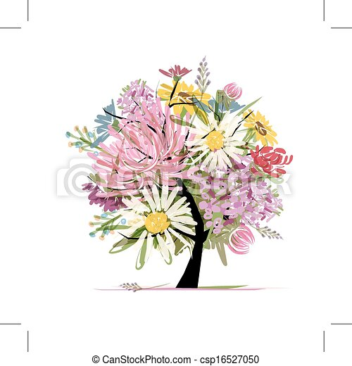 Floral summer bouquet, heart shape for your design - csp16527050