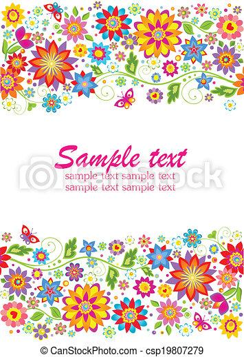 floral, summery, frontière - csp19807279