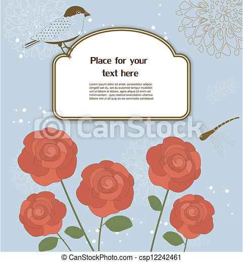 Tarjeta de felicitación floral - csp12242461