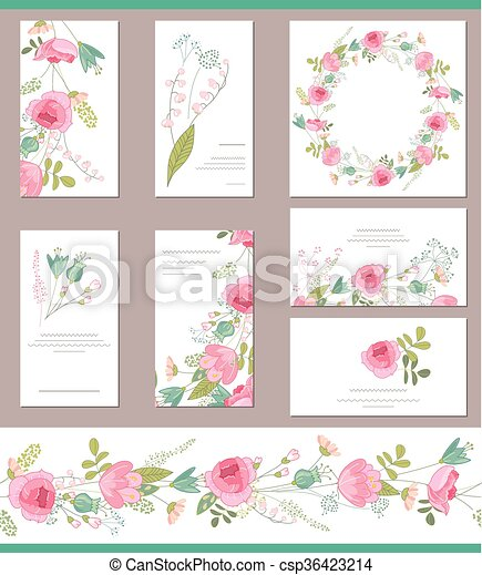 Floral templates with cute bunches of red roses  - csp36423214