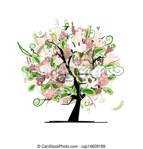 Floral tree for your design - csp14609189