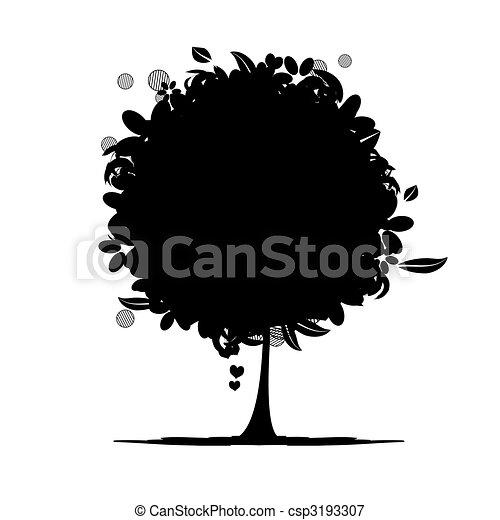Floral tree silhouette black - csp3193307