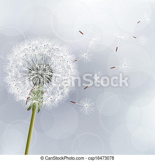 Floral trendy background with flower dandelion - csp16473078