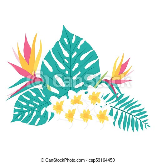floral tropical leaves floral paradise hand drawn tropical rh canstockphoto com tropical clipart png tropical clipart black and white