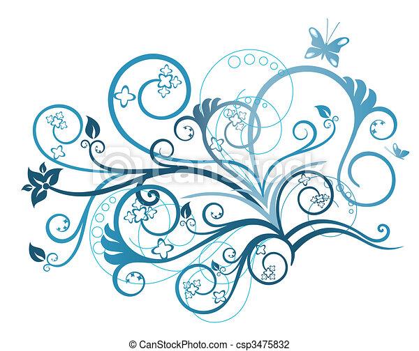 floral, turquesa, projete elemento - csp3475832