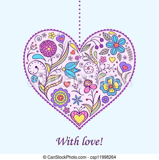 floral  valentine heart - csp11998264